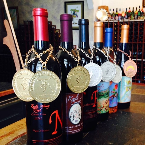 Medals from the Florida State Fair International Wine Competition.